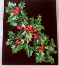 1950s Era Gibson Christmas Card - Classic Holly Leaves & Berries on Chocolate - $2.62