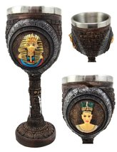 Atlantic Collectibles Pharaoh King Tut & Queen Nefertiti Wine Goblet Cha... - $18.76
