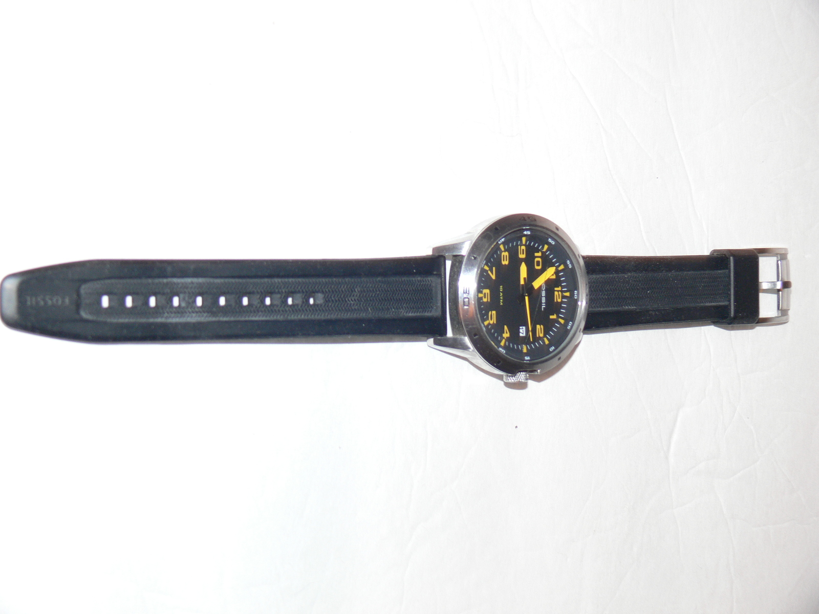 Mens Fossil Watch Am4202 Quartz Time Date And 50 Similar Items Modern Pursuit Black Face Yellow Number Silicone Td