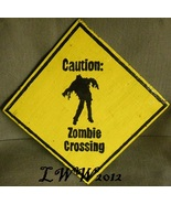 Caution Zombie Crossing Hand-painted Handmade Halloween Sign - $9.99