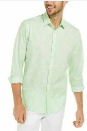 Alfani Men's Classic-Fit Abstract Plaid Snap-Button Shirt, Green, Size XL SEALED