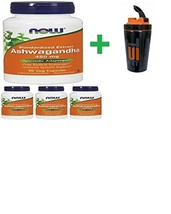 Now Ashwagandha 450 mg 90 Veg Capsules(4 PCS)+ Stainless Steel Shaker Bo... - $72.85