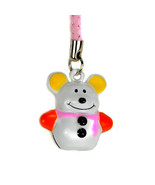 SNOW MOUSE BELL CHARM Snowman Cell Phone Strap Toy NEW - $3.99