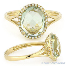 2.83ct Oval Green Amethyst Diamond Halo Engagement Cocktail Ring 14k Yellow Gold - £318.41 GBP