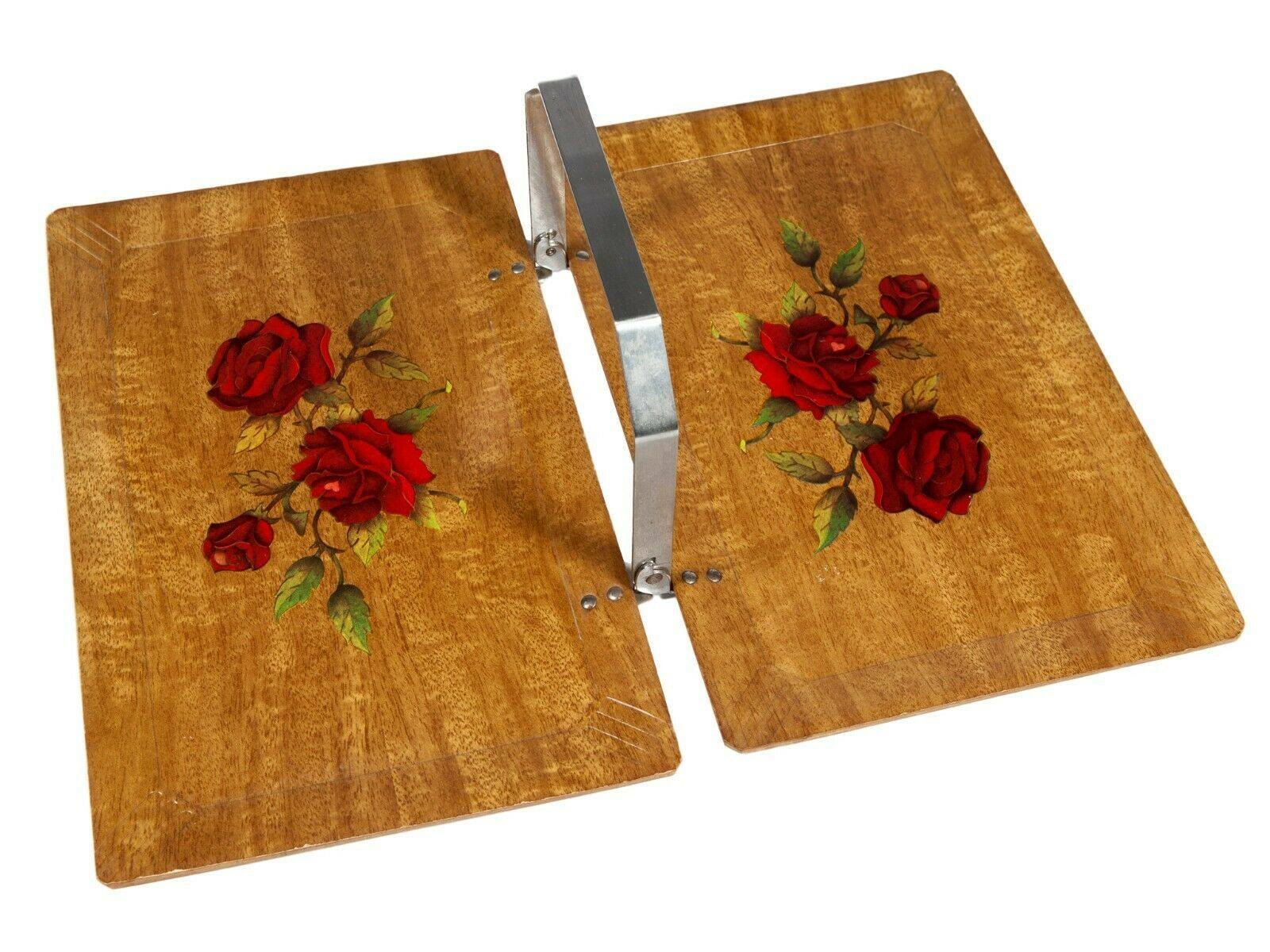 Primary image for FREE SHIP: Vintage Serving Tray - Folding Midcentury Haskelite Wood with Roses