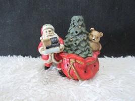 Ceramic Santa with Bear and Decorative Tree Tealight Candleholder, Holid... - $7.25