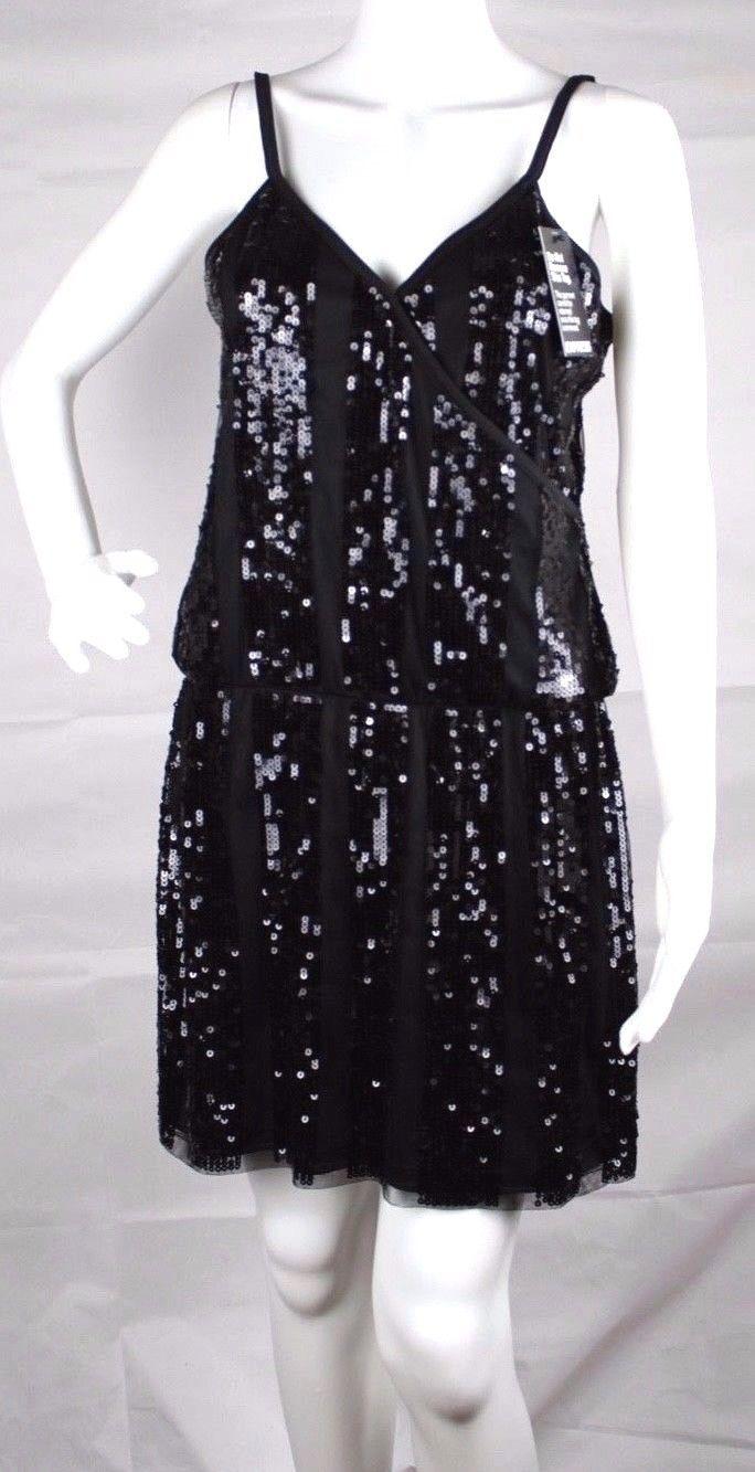 Express women's dress sequin sleeveless black party dress size M
