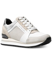 Michael Kors MK Women's Billie Trainer Suede Sneakers Shoes Optic White