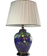 Italian Majolica Table Lamp Hand-Painted Blue Glaze - $1,059.00