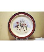 Royal Season Snowman Gold Dot Band Dinner Plate - $4.40