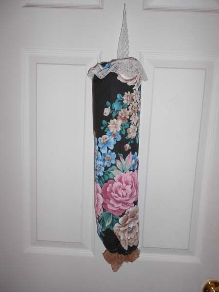 Bag Stuffer Plastic Grocery Bag Holder - Black, Mauve Cabbage Roses image 1