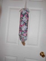 Bag Stuffer Plastic Grocery Bag Holder - Navy and Mauve floral roses - $8.50