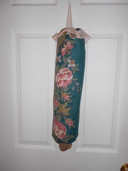 Bag Stuffer Plastic Grocery Bag Holder - Teal, Mauve Cabbage Roses