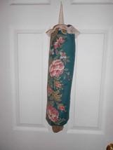 Bag Stuffer Plastic Grocery Bag Holder - Teal, Mauve Cabbage Roses - $8.50