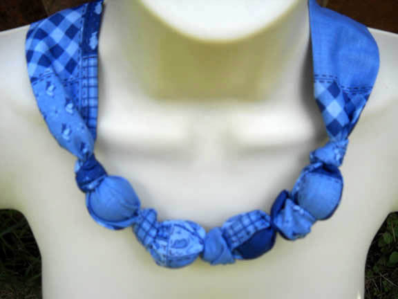 Fabric Knot Statement Necklace - Cornflower blue on bluie patchwork