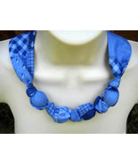 Fabric Knot Statement Necklace - Cornflower blue on bluie patchwork - $13.00