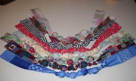 Fabric Knot Statement Necklace - Cornflower blue on bluie patchwork image 4