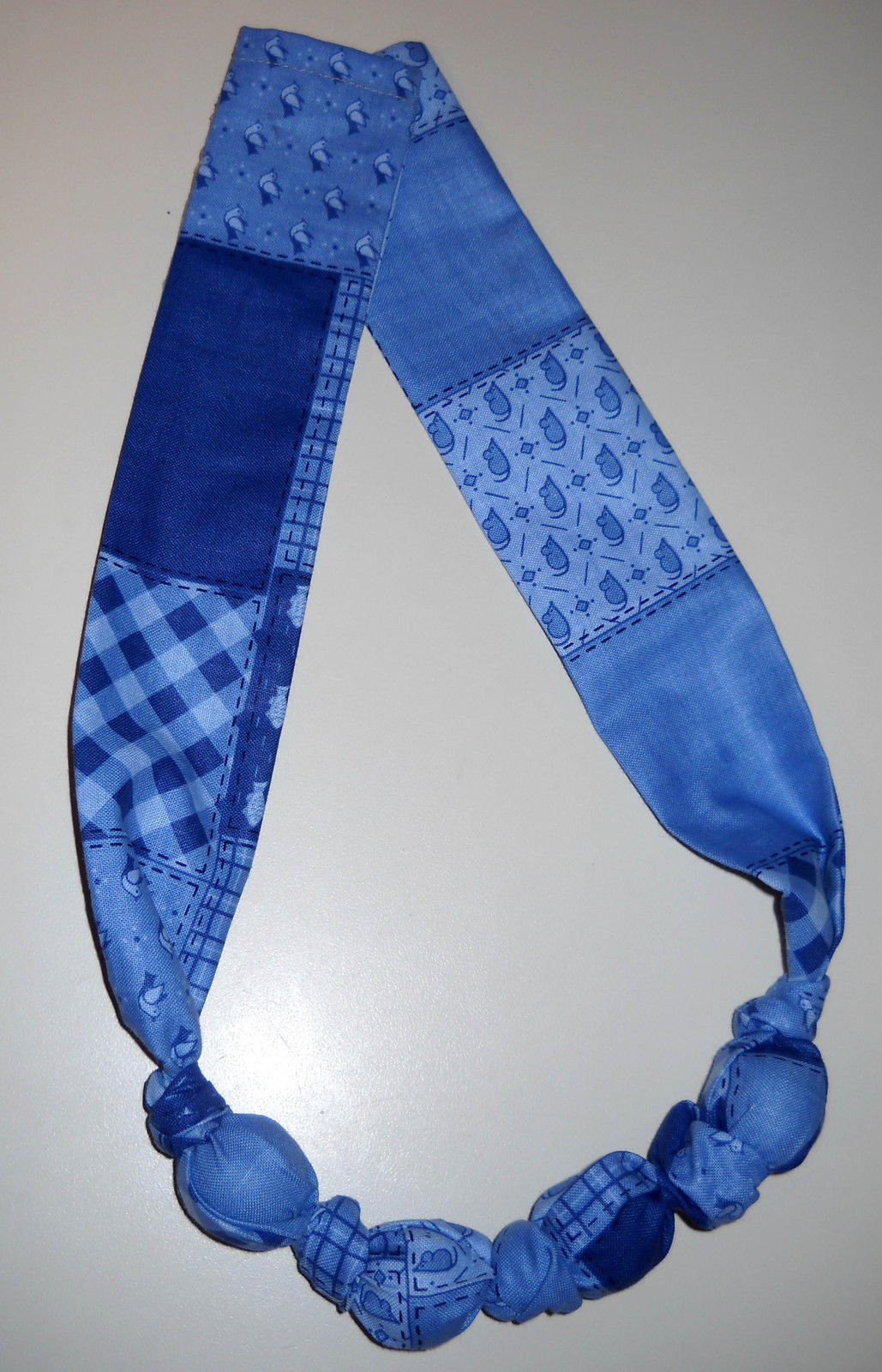 Fabric Knot Statement Necklace - Cornflower blue on bluie patchwork image 3