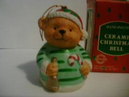 Ceramic Christmas Bell Hand Painted Bear image 1