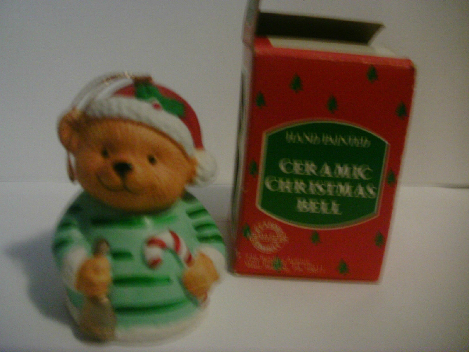 Ceramic Christmas Bell Hand Painted Bear image 2