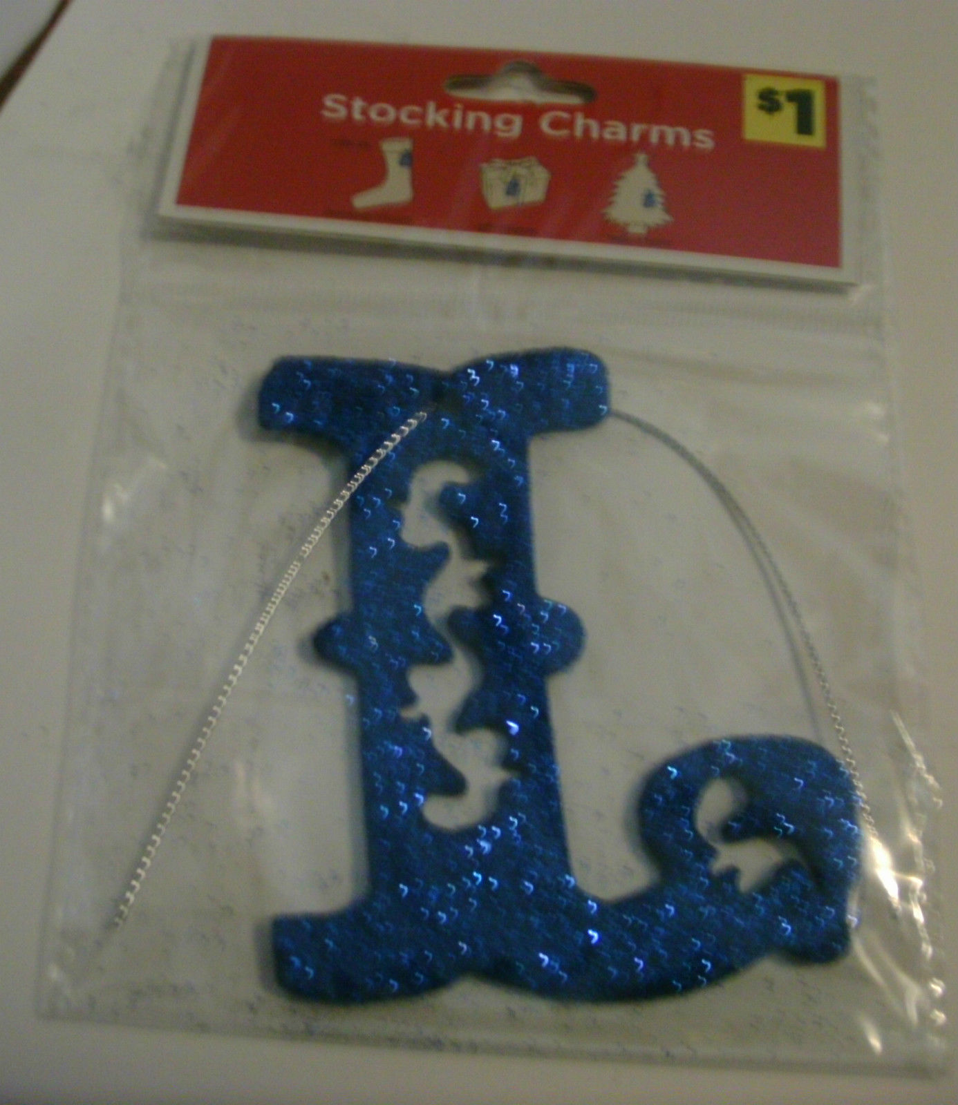 4 Stocking Charms Glittery Gray N, Green O, Green E, Blue L