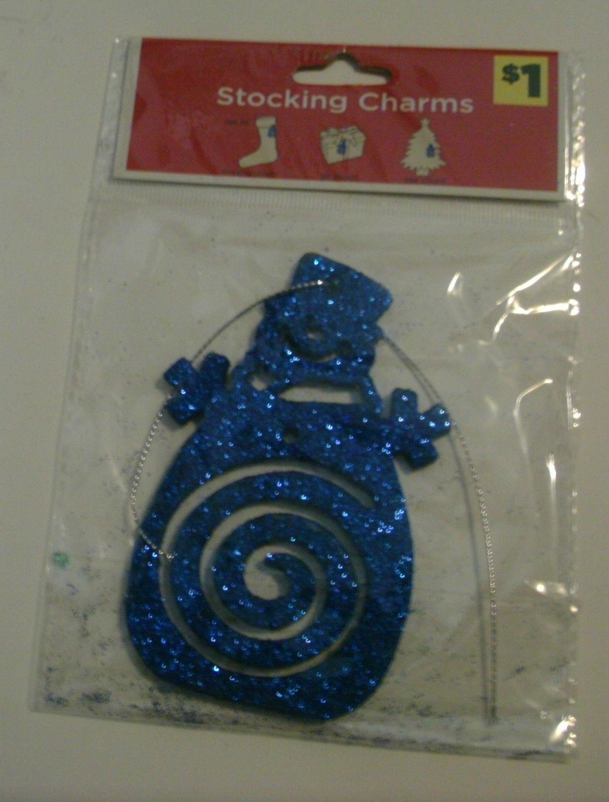 2 Stocking Charms Gray Glitter Reindeer & Blue Glitter Snowman
