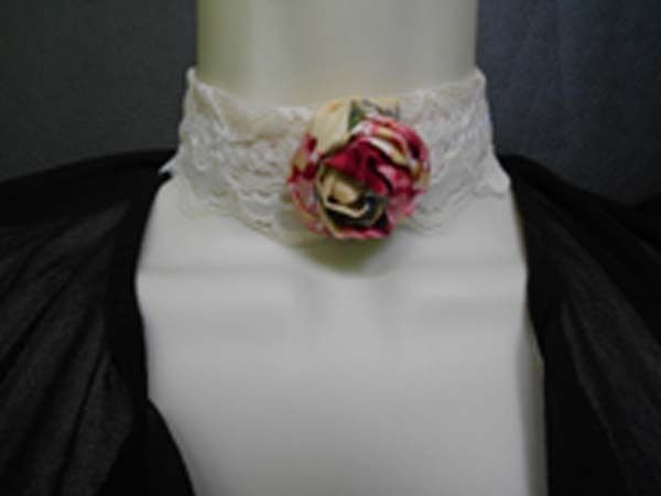 Retro Shabby Chic Victorian Lace and Rolled  Fabric Rose Choker Necklace