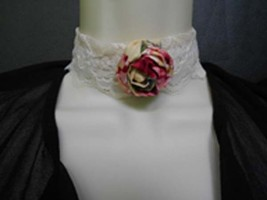 Retro Shabby Chic Victorian Lace and Rolled  Fabric Rose Choker Necklace image 1