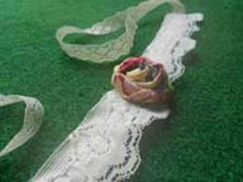 Retro Shabby Chic Victorian Lace and Rolled  Fabric Rose Choker Necklace image 2