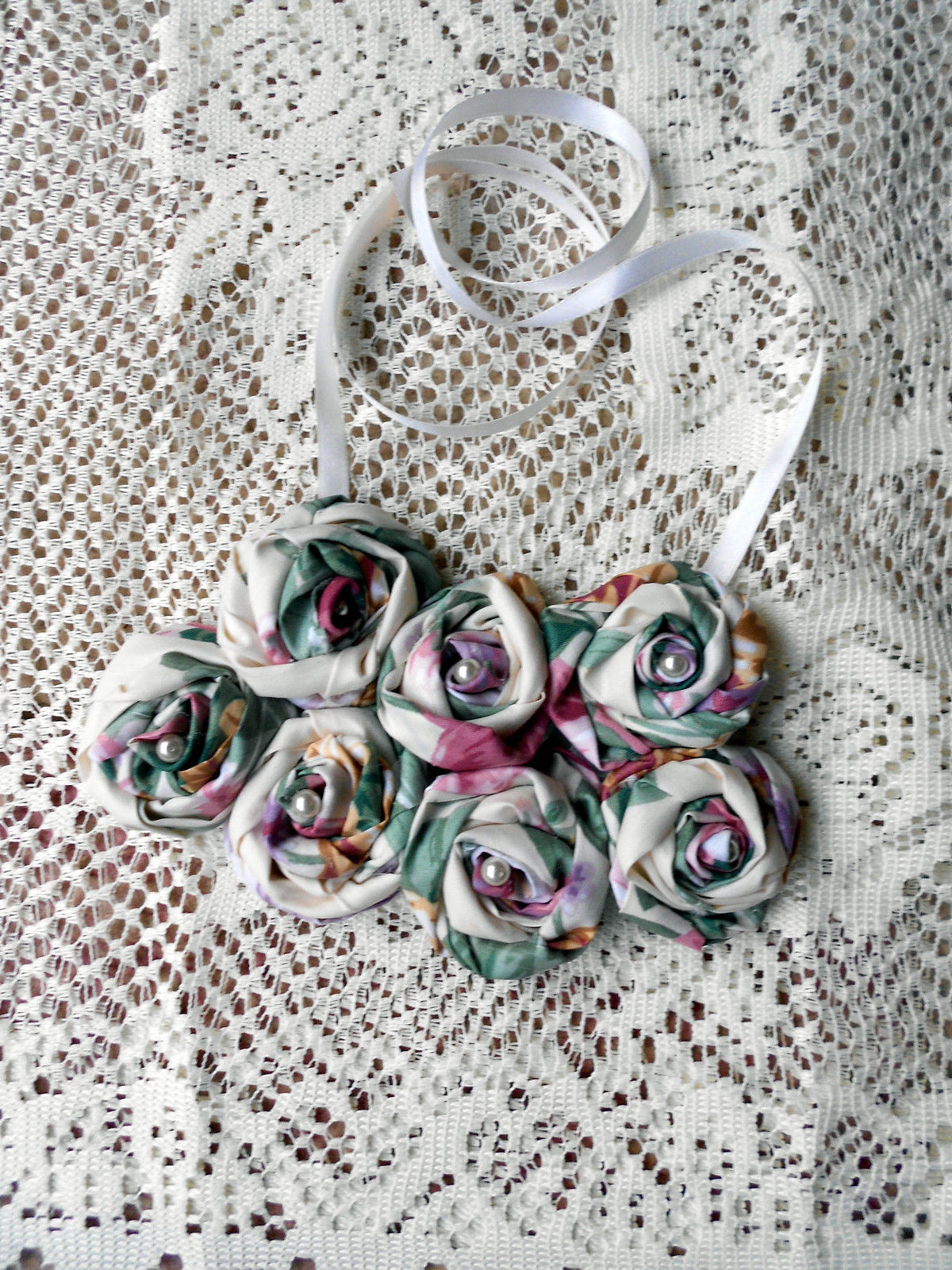 Rolled Fabric Rose Bib Statement Necklace - Double Cabbage Rose