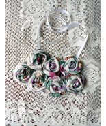 Rolled Fabric Rose Bib Statement Necklace - Double Cabbage Rose - $22.00