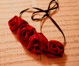 Rolled Fabric Rose Bib Statement Necklace -Red with tiny black floral accents image 1