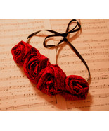 Rolled Fabric Rose Bib Statement Necklace -Red with tiny black floral ac... - $20.00