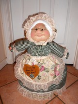 "Soft Sculptured 23"" Free Standing Grandma Shabby Chic Green Check and Floral image 1"