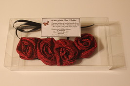 Rolled Fabric Rose Bib Statement Necklace -Red with tiny black floral accents image 2