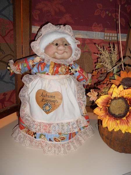 "Soft Sculptured 23"" Free Standing Grandma Autumn Harvest Blessings Fall Pumpkins image 2"