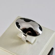 Ring Band Silver 925 Rhodium with Enamel Black Shaped Flowers image 3