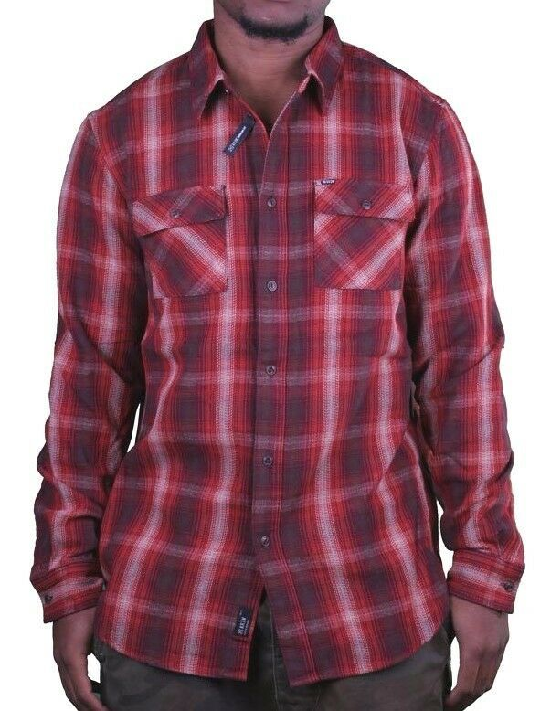 KR3W Mens Red Soil Escape Long Sleeve Woven Shirt K15325 Large NWT