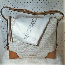 NWT Michael Kors Crosby Signature Lobo Hobo Shoulder Large Bag Vanilla A... - $159.99