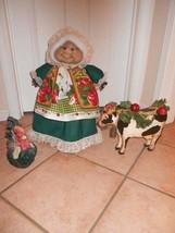 "Soft Sculptured 23"" Free Standing Grandma Hunter Green Dress Apple Apron... - $39.95"