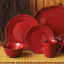 Red  Fluted 16 Piece Dinnerware Set Service  For 4 - $189.99