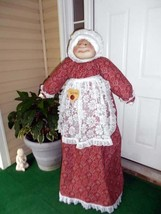 Vacuum Cover Soft Sculpture Grandma - Red, White and Black Kerchief Hankerchief image 1