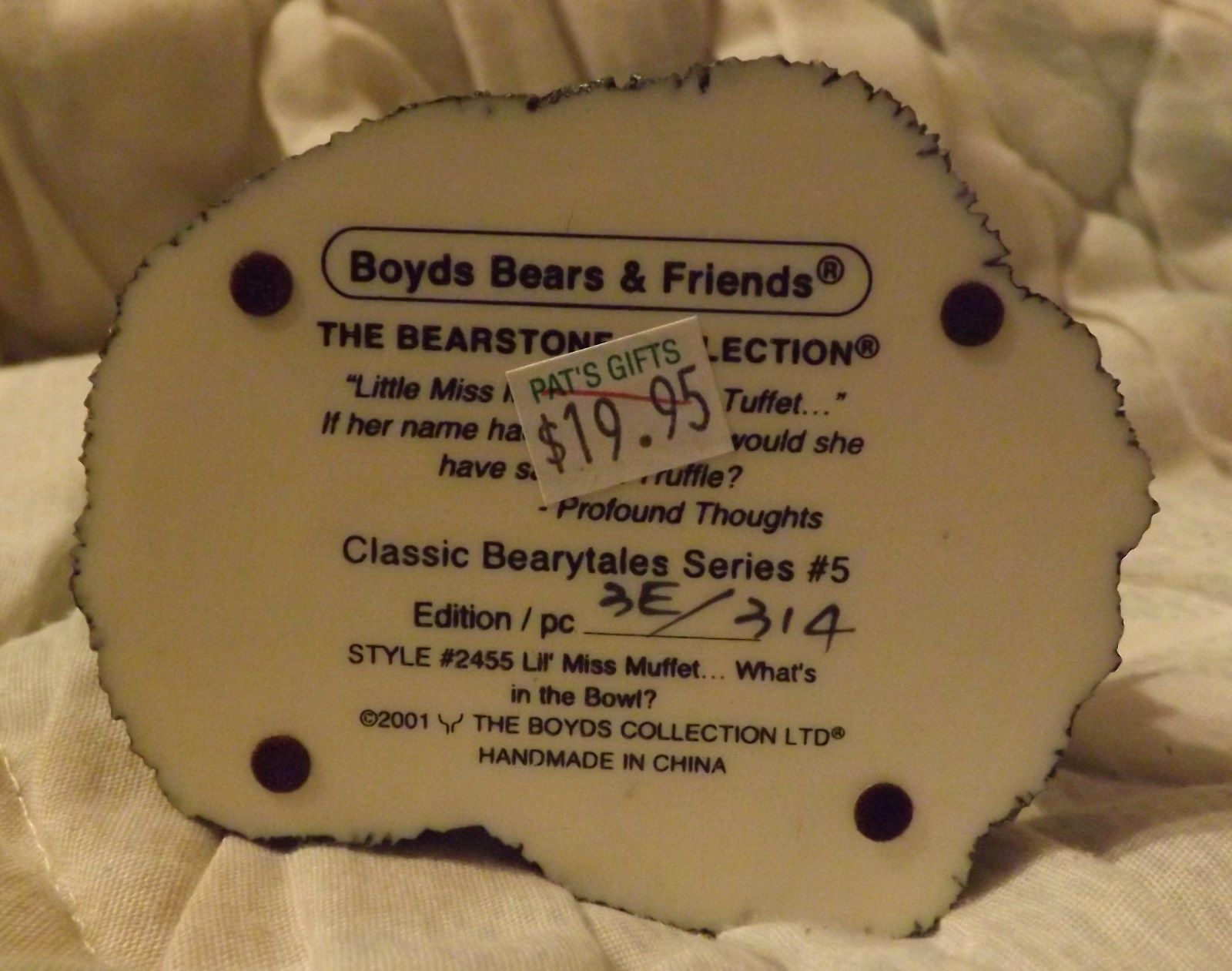 Boyds Bear Resin Classic Bearytales Series Lil' Miss Muffet...What's in the Bowl image 2