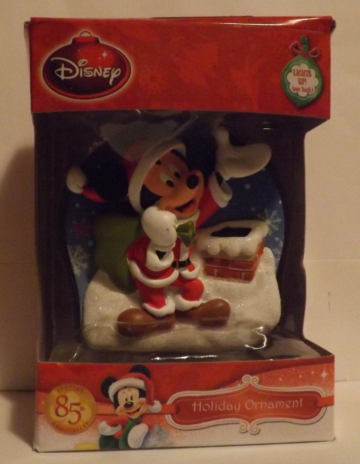 """Disney 3"""" Santa Mickey on Roof Bas-Relief Lighted Ornament"""