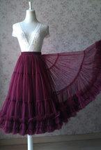 Burgundy Ballerina Tulle Skirt A-Line Layered Puffy Ballet Tulle Tutu Skirt image 6