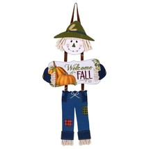 "Welcome Fall Harvest Dangling Scarecrow Welcome Sign approx 16"" X 9"" - $2.50"