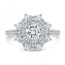 Pure 925 Sterling Silver 14k Gold Plated Floral Style Wedding Ring Round Cut CZ - $71.21