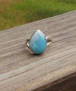 Larimar Ring, Sterling Silver, Size 7, Pear Shape, Tear Drop, Cabochon - $39.00