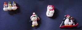 Lot 6 Christmas Jewelry Plastic Pins Earrings Cat Penguin Snowmen Trees image 4