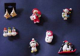 Lot 6 Christmas Jewelry Plastic Pins Earrings Cat Penguin Snowmen Trees image 2